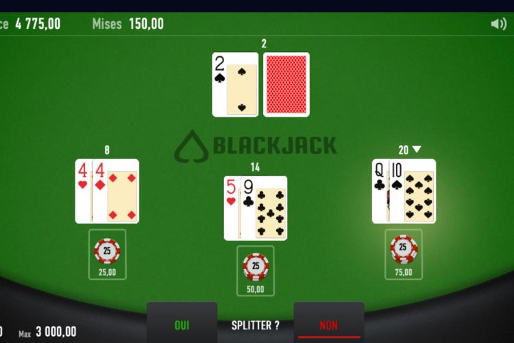 blackjack en ligne une